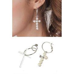 migunstyle - Faux-Pearl Drop Earrings