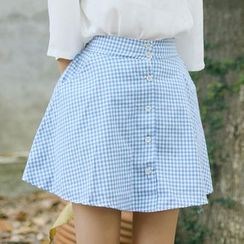 sansweet - Gingham Buttoned A-Line Skirt