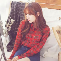 Bongjashop - Plaid Chiffon Blouse