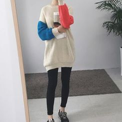 Carabecca - 插色长款毛衣