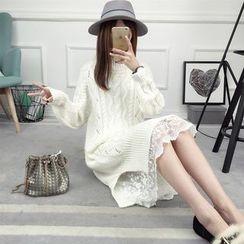 Loytio - Long-Sleeve Rip Knit Midi Dress