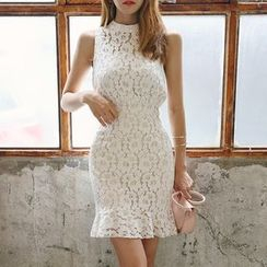 DABAGIRL - Sleeveless Ruffled-Hem Laced Dress