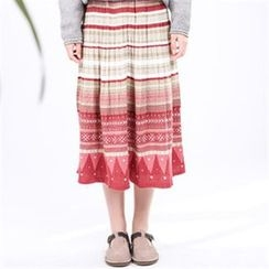 11.STREET - Print Accordion Pleat Skirt