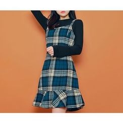 HOTPING - Checked Ruffle-Hem Suspender Dress