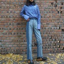 EEKO - Washed Panel Wide Leg Jeans