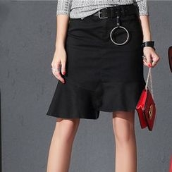 Ranche - Ruffle Hem Asymmetric Mini Skirt with Belt