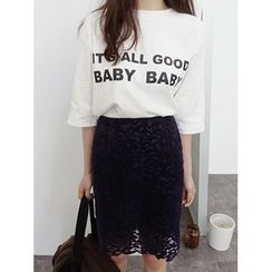 maybe-baby - Round-Neck Lettering Top