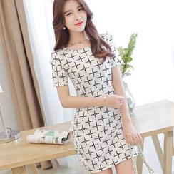 Bornite - Print Short-Sleeve Sheath Dress