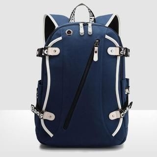 K-Style - Faux-Leather-Trim Canvas Backpack