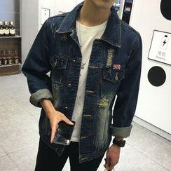 Denimic - Distressed Washed Denim Jacket