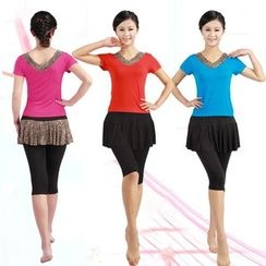 Dancing Queen - Dance Set: Short Sleeve Top + Capri Pants
