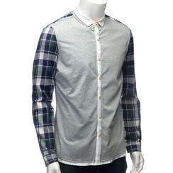 YesStyle M - Plaid Panel Contrast Trim Shirt