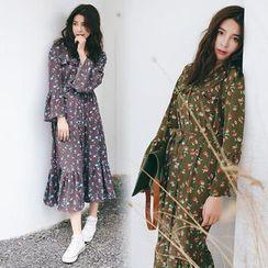 Sienne - Long-Sleeve Floral A-line Midi Dress