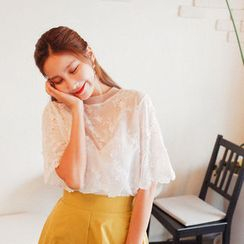 Cherryville - Elbow-Sleeve Lace Top