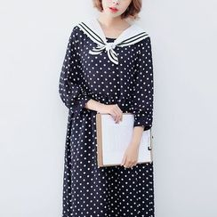 Sens Collection - Sailor Collar Polka Dot Midi Dress