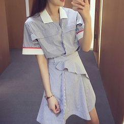 Cocofield - Striped Short Sleeve Wrapped Shirtdress