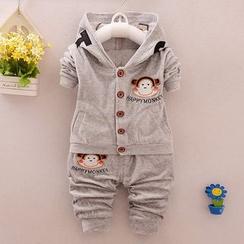 POMME - Kids Set: Monkey Applique Hooded Jacket + Pants