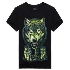 T Empire - Wolf Print T-Shirt