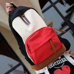 Pandabada - Color-Block Canvas Backpack