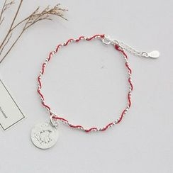 Love Generation - Chicken Coin Red String Sterling Silver Bracelet