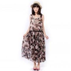 Cobogarden - 迷彩无袖连衣长裙