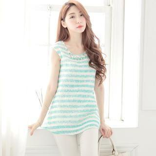 Tokyo Fashion - Beaded Striped Lace Sleeveless Top