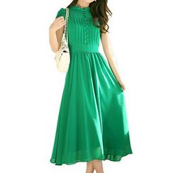 Fashion Street - Short-Sleeve Frilled Trim Midi Dress