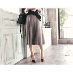 DANI LOVE - Band-Waist Pleated Midi Skirt