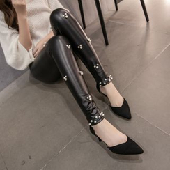 Dream Girl - Faux Pearl / Studded Faux Leather Leggings