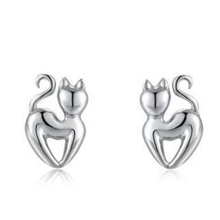 MBLife.com - Left Right Accessory - 925 Sterling Silver Arrogant Cat Stud Earrings, Women Girl Jewelry