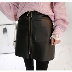 Miamasvin - Zip-Front Faux-Leather Mini Skirt