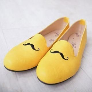D.P-Shop - Faux-Leather Moustache-Accent Flats