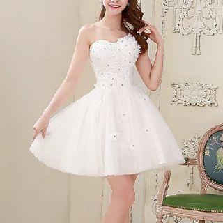MSSBridal - One-Shoulder Floral Accent Mini Prom Dress