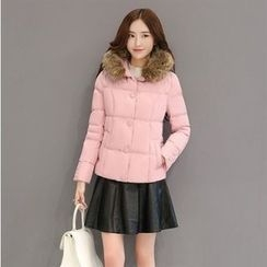 Romantica - Furry-Trim Hooded Padded Jacket