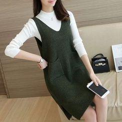Ageha - Pocketed V-Neck Knit Tank Dress