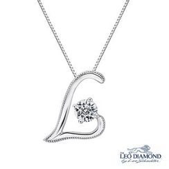 Leo Diamond - 18K White Gold Diamond Solitaire Milgrain L-Shaped 'Love' Initial L Pendant Necklace (16')