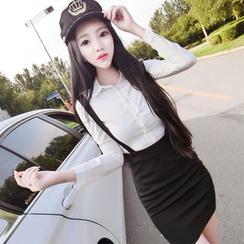 Neon Nite - Set: Plain Shirt + Plain Mini Suspender Skirt