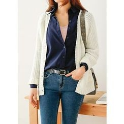 J-ANN - V-Neck Dual-Pocket Cardigan