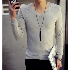 Consto - Plain V-Neck Long Sleeve T-Shirt
