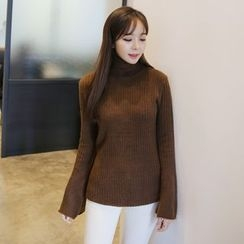 Envy Look - Turtle-Neck Bell-Sleeve Knit Top