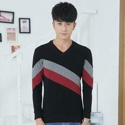 Neptuno - Colour Block V-neck Long-Sleeve T-Shirt
