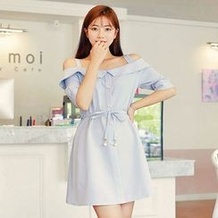 HOTPING - Off-Shoulder A-Line Shirtdress With Sash