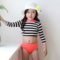 Sweet Splash - Kids Set: Striped Cropped Rashguard + Swim Bottom