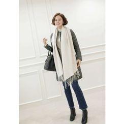 Lemite - Faux-Pearl Beaded Wool Blend Long Scarf