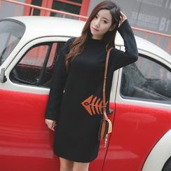 Dream Girl - Maternity Long-Sleeve Mock Neck Knit Dress