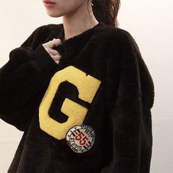 NIPONJJUYA - Lettering Appliqué Oversized Faux-Fur Sweatshirt