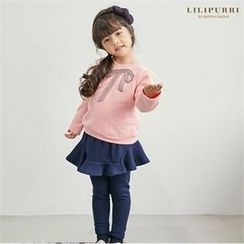 LILIPURRI - Girls Set: Ribbon Print Top + Inset Skirt Leggings
