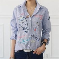 CHICFOX - Embroidered Pinstripe Shirt