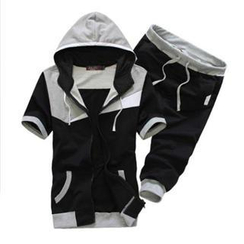 Bay Go Mall - Set: Short-Sleeve Color-Block Hooded Jacket + Cropped Sweatpants