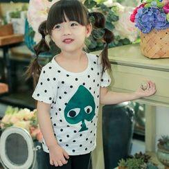 柠檬嘟嘟 - 小童圆点印花短袖T恤